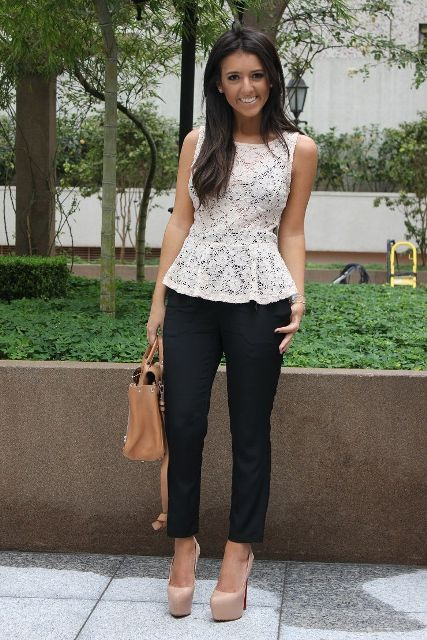 With black trousers, beige tote bag and beige platform shoes