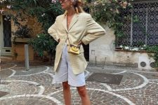 With checked long blazer, scarf, mini chain strap bag and white ankle strap sandals