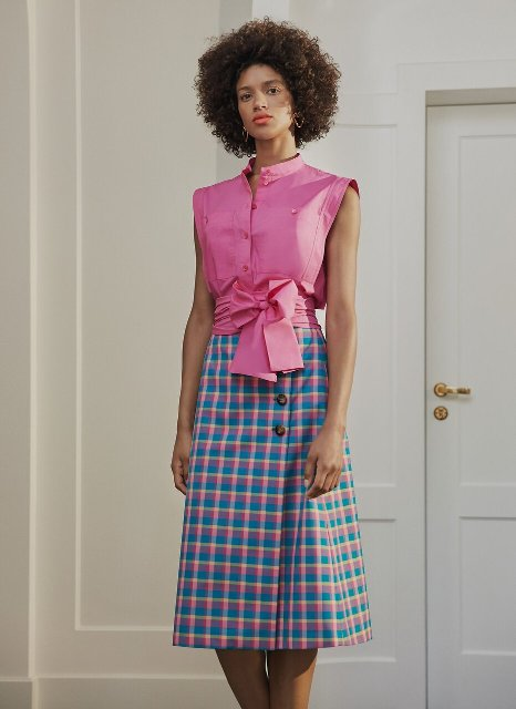 With colorful checked wrap midi skirt