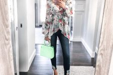 With cropped jeans, mint green bag and mint green sandals