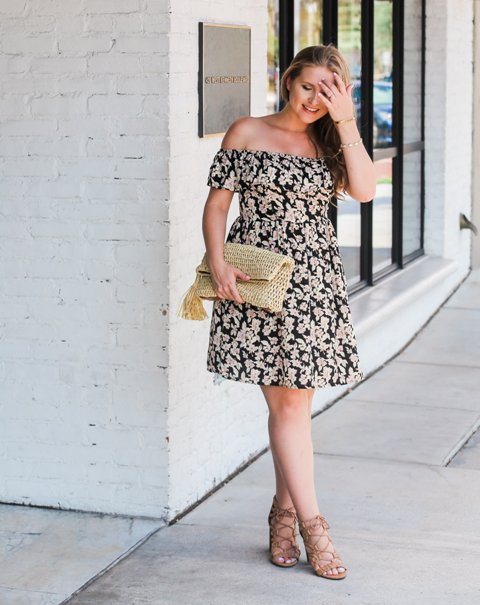 With floral off the shoulder mini dress and lace up sandals
