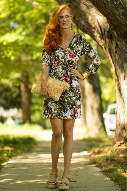 With floral printed wrap mini dress and platform sandals