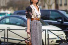 With gray midi skirt, printed blazer, brown belt and brown bag