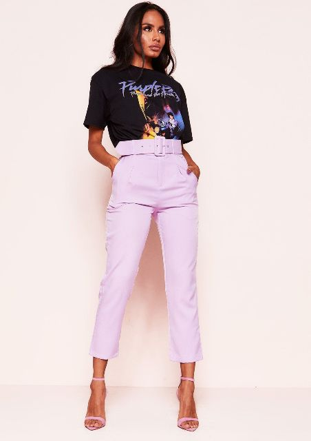 With labeled t-shirt and lilac ankle strap shoes