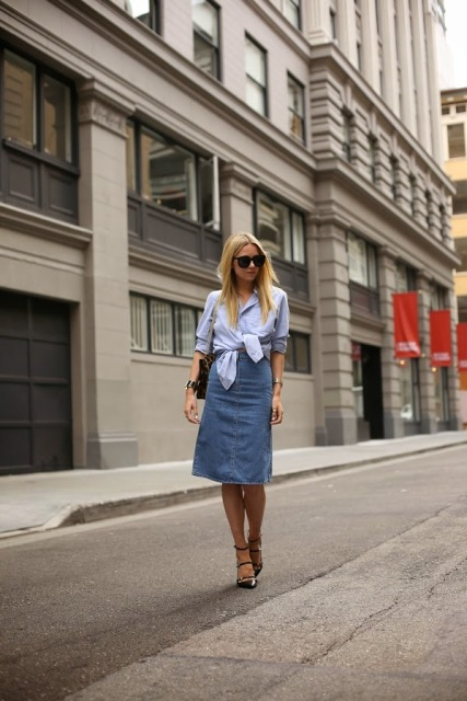 With loose shirt, bag and lace up shoes