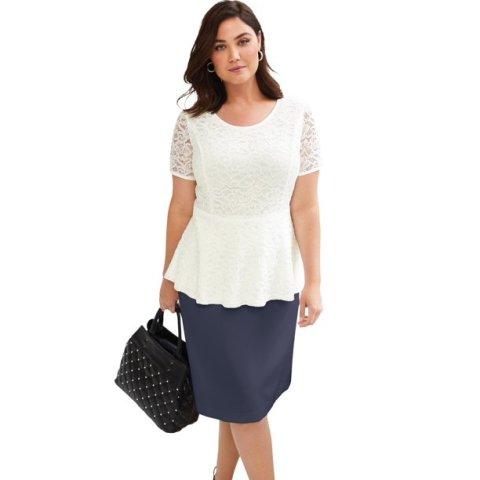 With navy blue skirt and black embellished bag