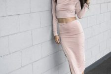 With pale pink midi skirt and beige ankle strap sandals