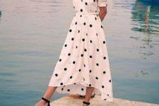With polka dot V-neck belted dress