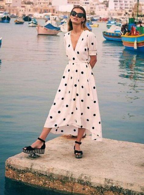 With polka dot V neck belted dress