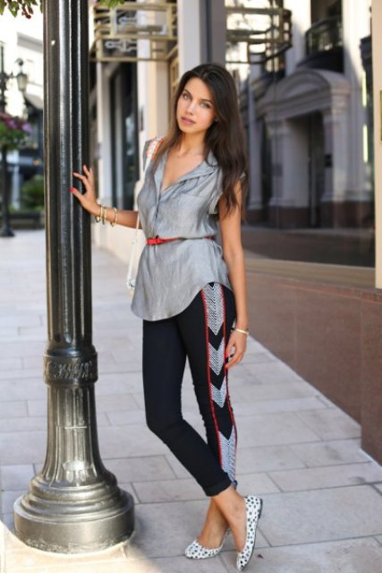 With printed leggings, white bag and polka dot flat shoes