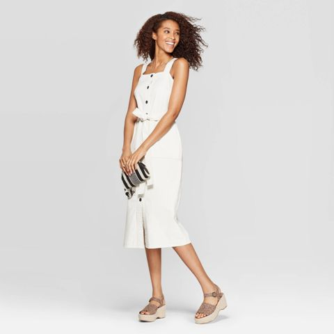 With striped clutch and platform sandals