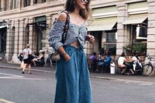 With striped off the shoulder top, bag and denim culottes
