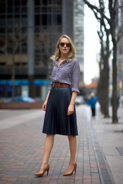 With striped shirt and brown pumps