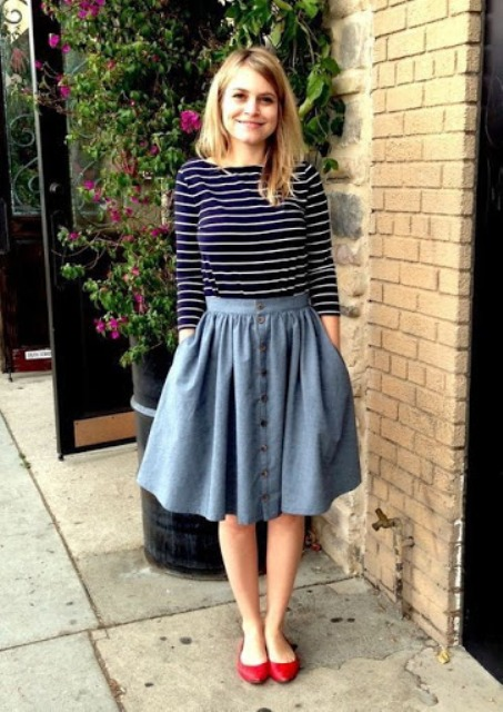 With striped shirt and red flat shoes