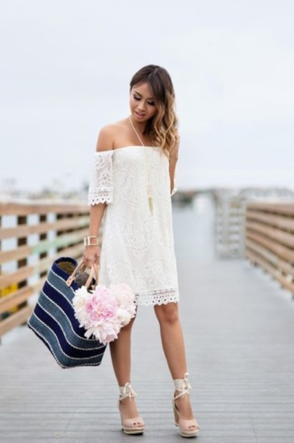 With striped tote bag and ankle strap platform sandals