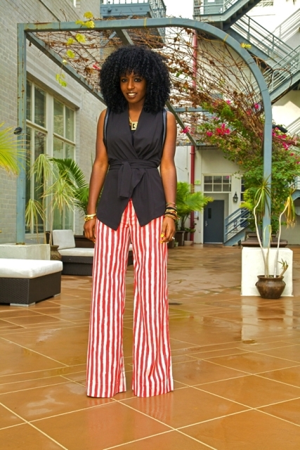 With white and red striped palazzo pants