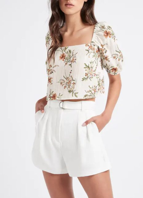 With white belted shorts