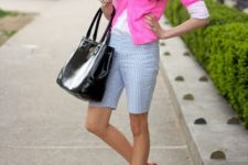 With white button down shirt, pink cardigan, black tote bag and pink sandals