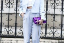 With white crop top, pastel colored crop blazer, purple bag and white shoes