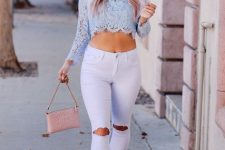 With white distressed cuffed jeans, pale pink bag and beige pumps