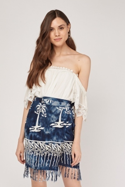 With white lace off the shoulder top