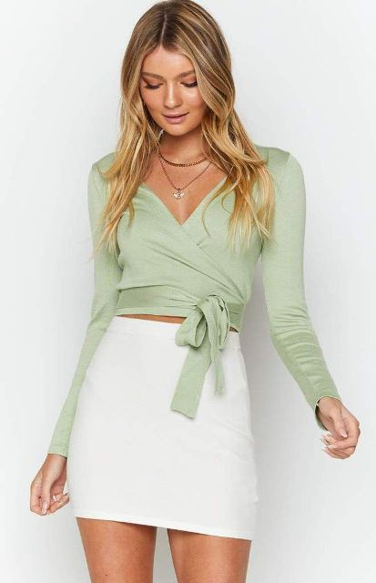 With white mini skirt