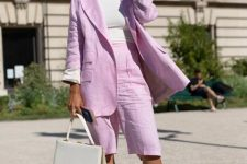 With white shirt, lilac long blazer, white bag and white low heeled shoes