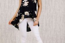 With white skinny crop pants and beige ankle strap high heels