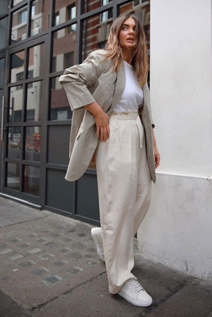 With white t-shirt, gray long blazer and white sneakers