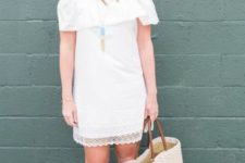 With white tote bag and beige sandals