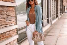 a cute summer look with white jeans