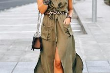 a green wrap maxi dress with pockets, an animal print belt, printed shoes, a brown bag and a hat