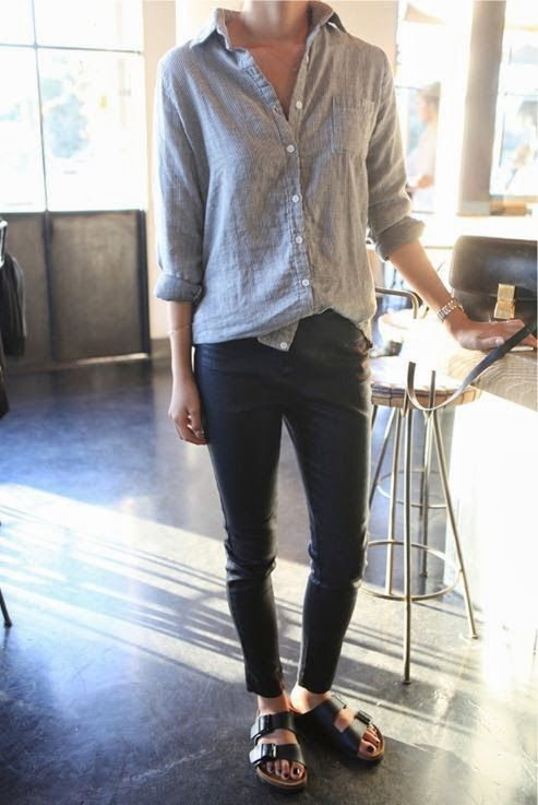 a grey linen shirt, black jeans, black birkenstocks are a simple and comfortable everyday look for summer