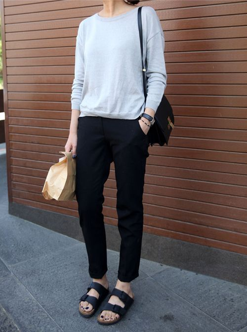 a grey long sleeve top, black trousers, black birkenstocks, a black bag are a simple and cool look for every day