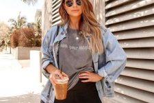 a grey printed tee, black biker shorts, a chambray shirt and a black bag for every day