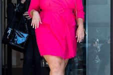 a hot pink wrap mini dress with a sash and white heels are all you need to look bold and withstand the heat