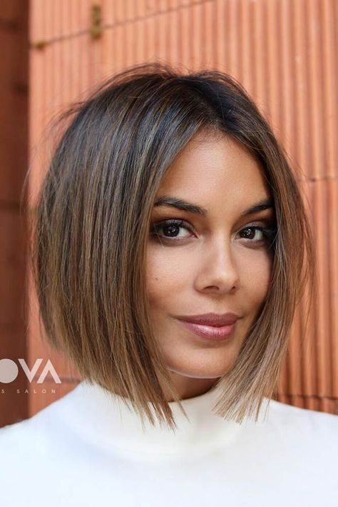 a lovely dark bob with caramel balayage is a very natural and chic idea to style your hair