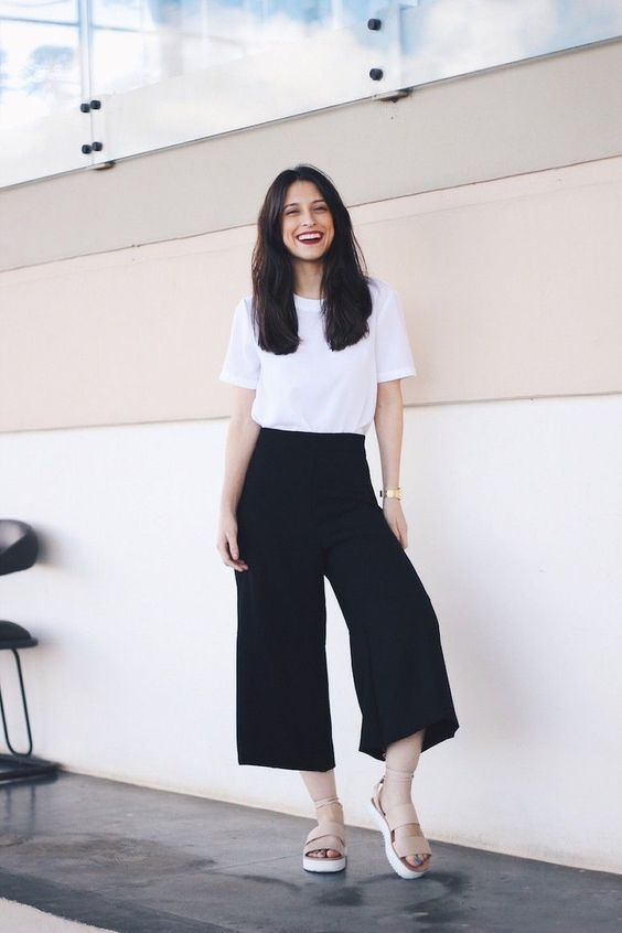 a minimalist look with a white t-shirt, black culottes and nude wide strap platform shoes for a hot summer day