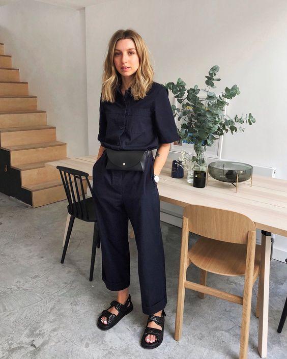 a navy linen jumpsuit, a black belt bag and black Birkenstocks for a chic summer work look