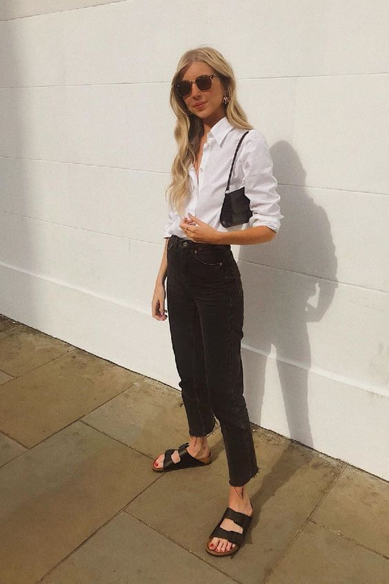 a white shirt, black jeans, black birkenstocks, a black bag are all you need for every day in summer