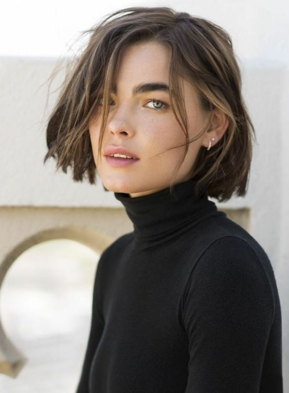 a wonderful short bob with messy waves and mushroom balayage is a trendy and fresh idea