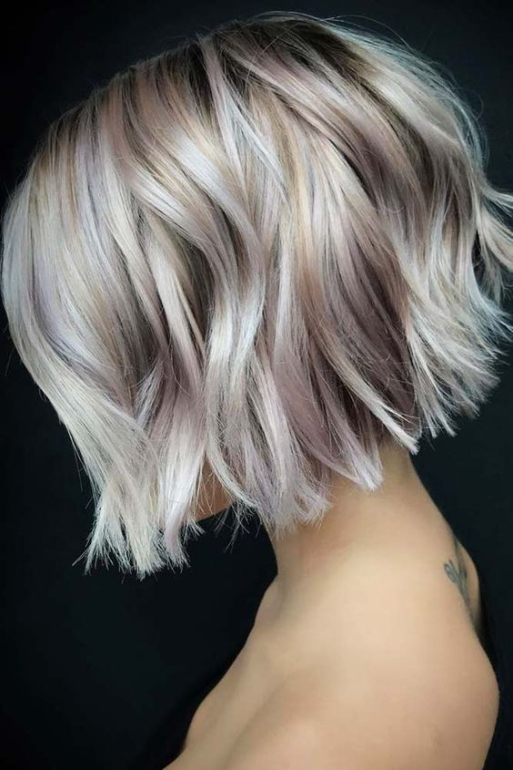 an impressive short bob with blush and silver balayage and waves will make you very eye-catching