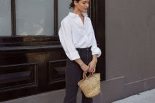 02 a white oversized shirt, black button up straight leg jeans, black slingbacks and a straw bag for a casual fall look