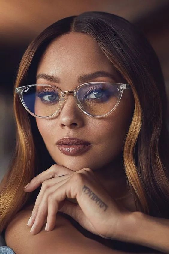 cat eye glasses in a clear frame is a fresh and new take on classics that looks very feminine and quite fashionable