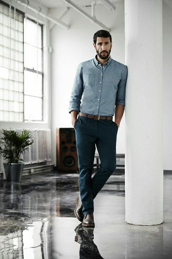 a basic blue shirt, navy trousers, a brown belt and brown shoes for astylish business casual look