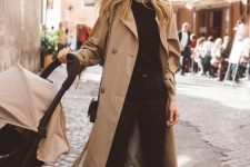 13 a black jumper, trousers, moccasins, a tan trench and a black bag for a timeless casual look