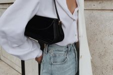 14 a basic fall outfit with a white shirt, light blue jeans, a creamy oversized blazer and a black bag