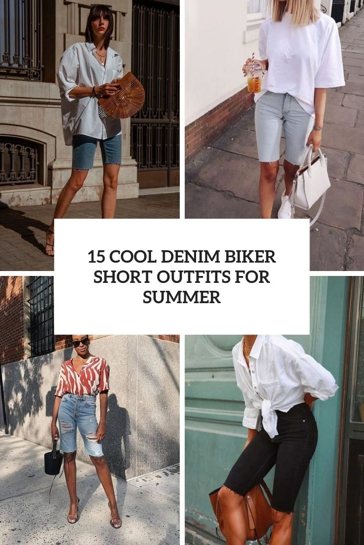 15 Cool Denim Biker Short Outfits For Summer