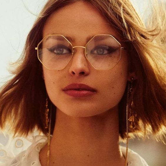octagonal glasses in a thin gold metal frame are amazing for a bold modern look if you wanna make a statement with accessories