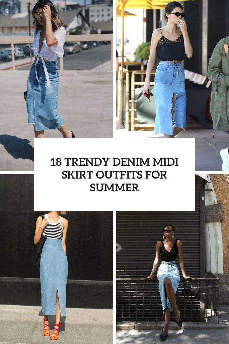 trendy denim midi skirt outfits for summer cover